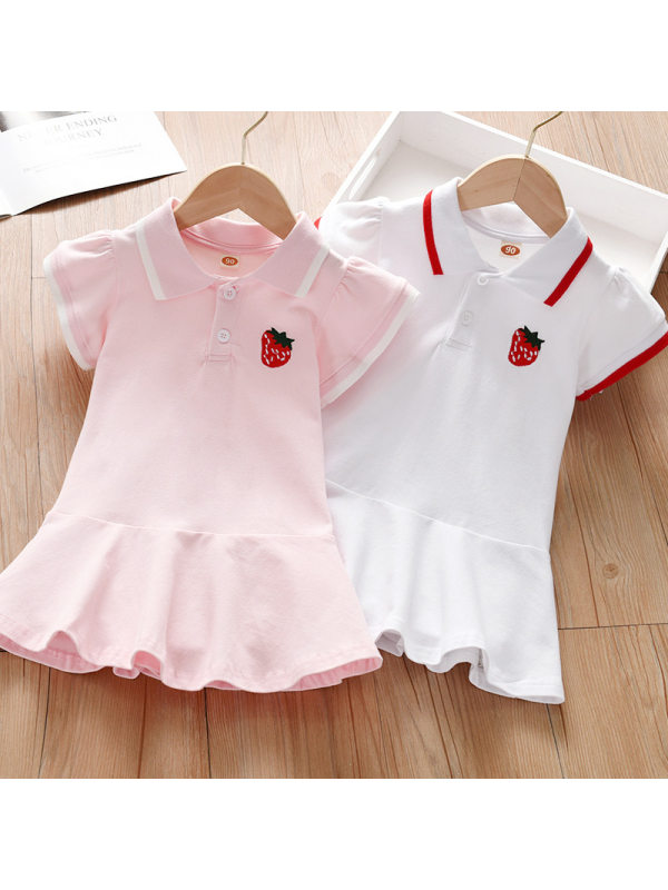 【18M-7Y】Girl Sweet Strawberry Embroidered Lapel Sleeveless Dress