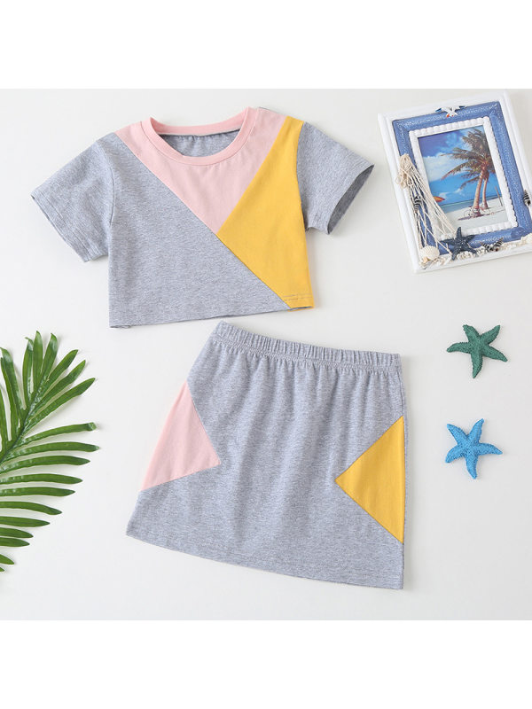 【18M-7Y】Girls' Hit Color Stitching Short-sleeved T-shirt Short Skirt Sports And Leisure Two-piece Suit
