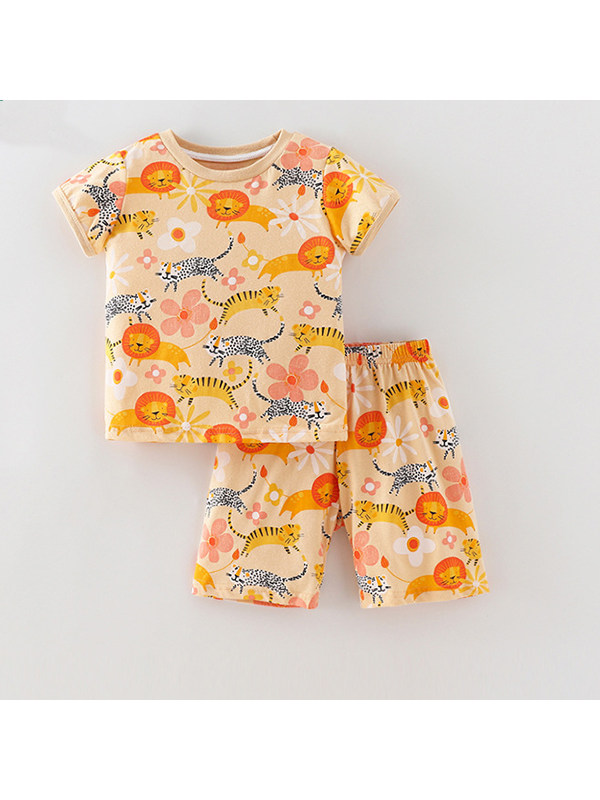 【18M-9Y】Girls Cartoon Print Short-sleeved T-shirt Shorts Two-piece Suit