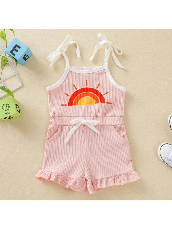 【12M-5Y】Cute Rainbow Print Sling Jumpsuit