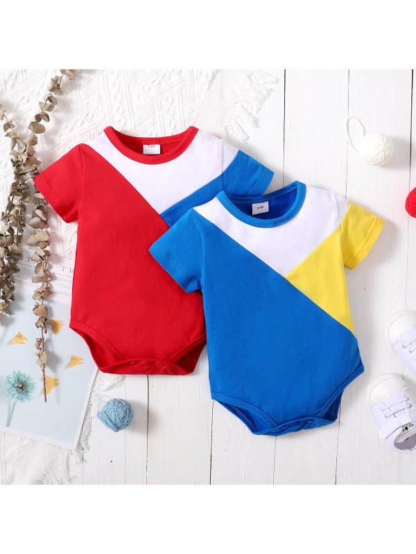 【0M-18M】Casual Round Neck Short-sleeved Colorful Romper