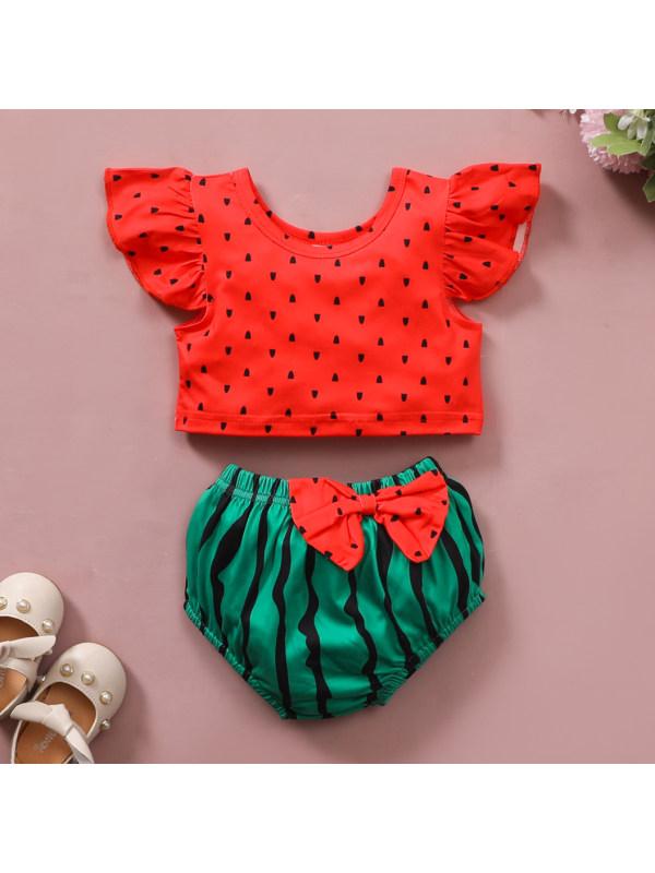 【0M-18M】Cute Bow Red Watermelon Print Set