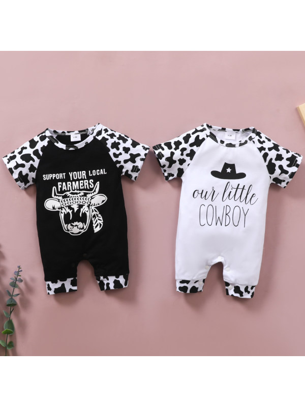 【0M-18M】Casual Cartoon and Letter Printed Romper