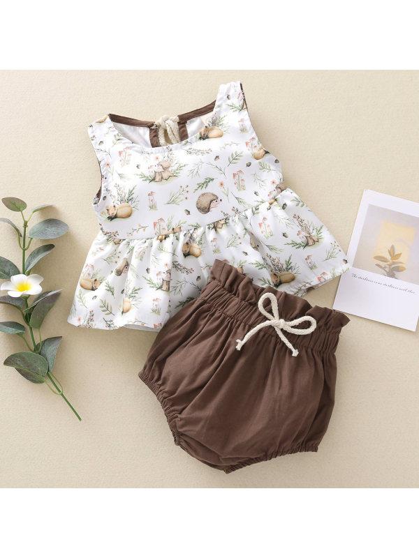 【3M-3Y】Cute Cartoon Print Top and Brown Shorts Set