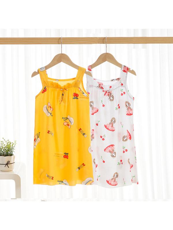 【2Y-11Y】Girls Summer Lace Cute Dress Casual Print Skirt Summer Suspender Skirt