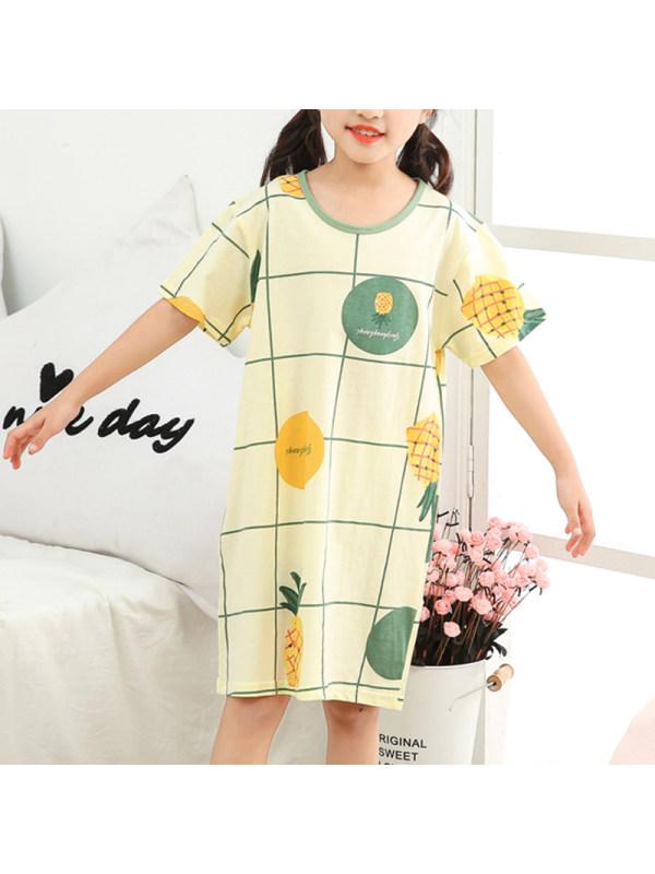【2Y-13Y】Girls Summer Cotton Cartoon Round Neck Home Dress Round Neck Short Sleeve Nightdress