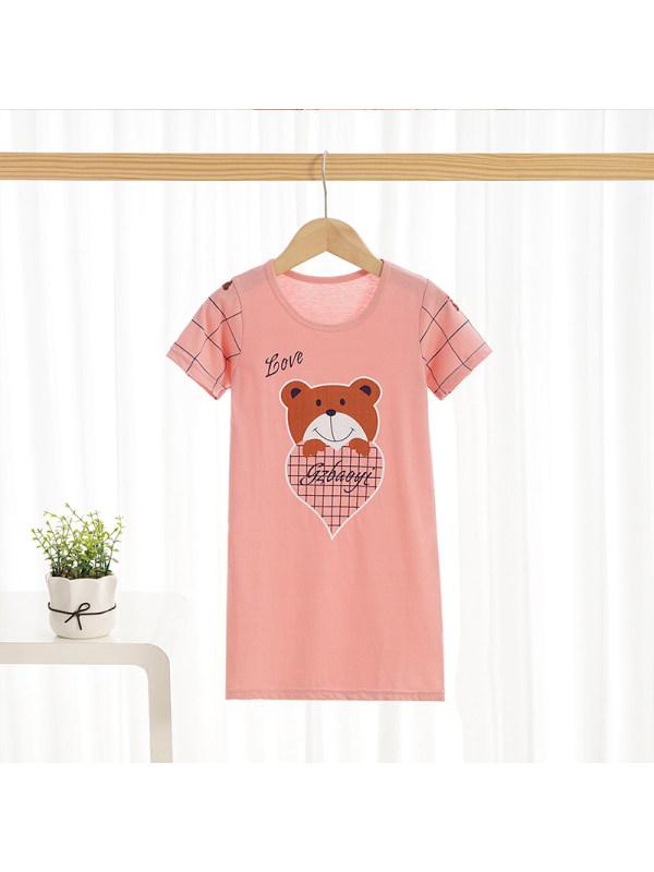 【2Y-13Y】Girls Summer Round Neck Cotton Short-sleeved Home Skirt Dress Cartoon Pink