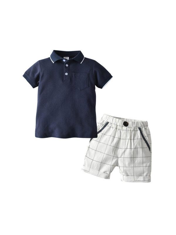 【18M-5Y】Boys Lapel Shirt Plaid Shorts Casual Two-piece Suit