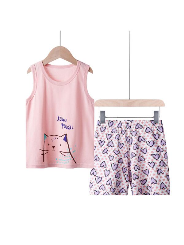 【18M-9Y】Girls Summer Cotton Short-sleeved Pants Suit Home Service Cartoon Two-piece Suit