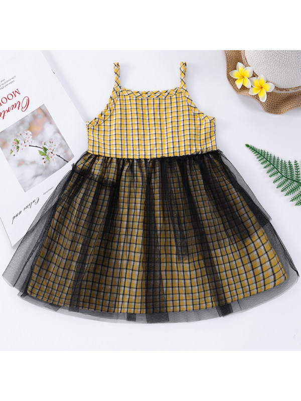 【6M-2.5Y】Baby Girl Sweet Yellow Plaid Mesh Dress