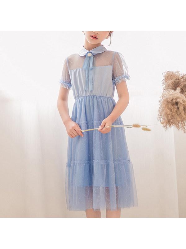 【3Y-13Y】Girls Lapel Short Sleeve Mesh Dress