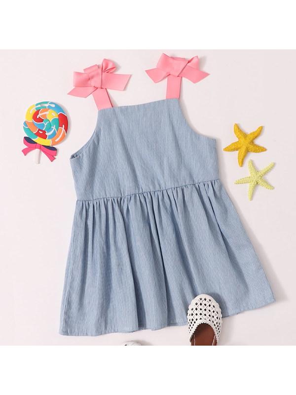 【6M-2.5Y】Baby Girl Sweet Blue Denim Striped Dress