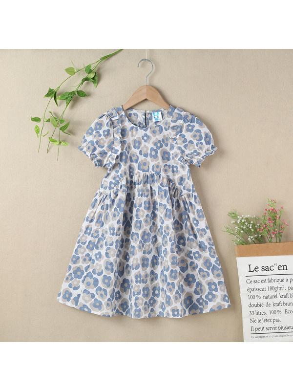 【3Y-13Y】Girls Round Neck Puff Sleeve Floral Cotton Dress