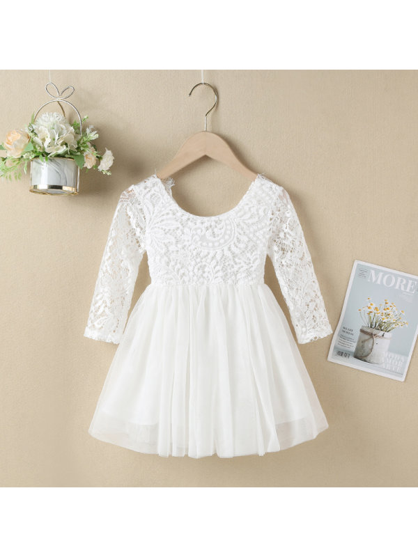 【6M-7Y】Girls' Long-sleeved Short Lace Dress Dress