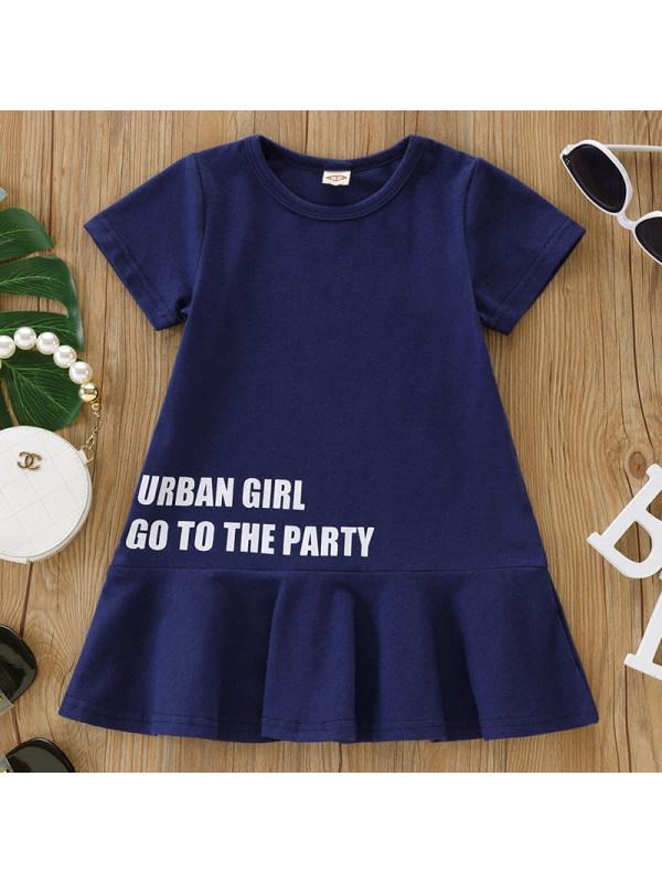 【6M-2.5Y】Baby Girl Sweet Navy Blue Short Sleeve Dress
