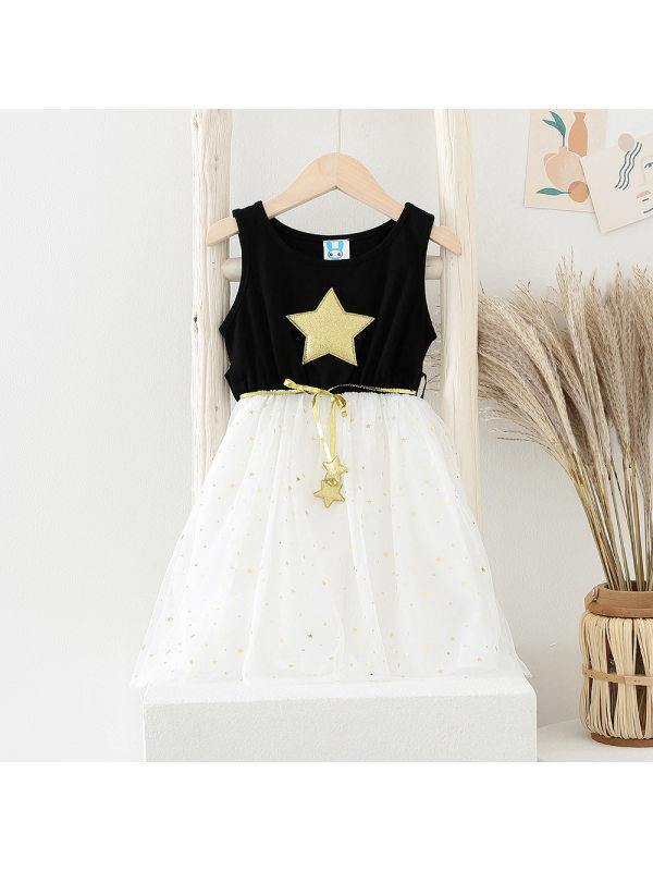 【3Y-11Y】Girls' Round Neck Sleeveless Star Net Gauze Dress