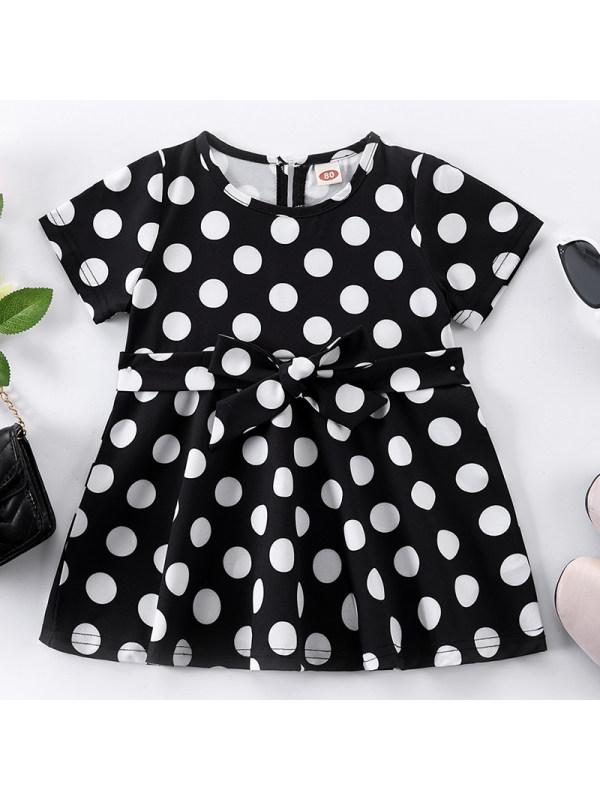 【6M-2.5Y】Baby Girl Sweet Black Polka Dot Short Sleeve Dress