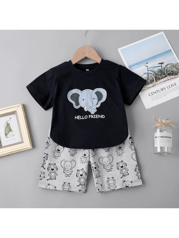 【18M-7Y】Boy Elephant Print Short-sleeved Top with Shorts Two-piece Suit