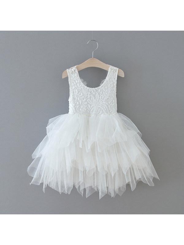 【18M-7Y】Girls Round Neck Sleeveless Tulle Dress