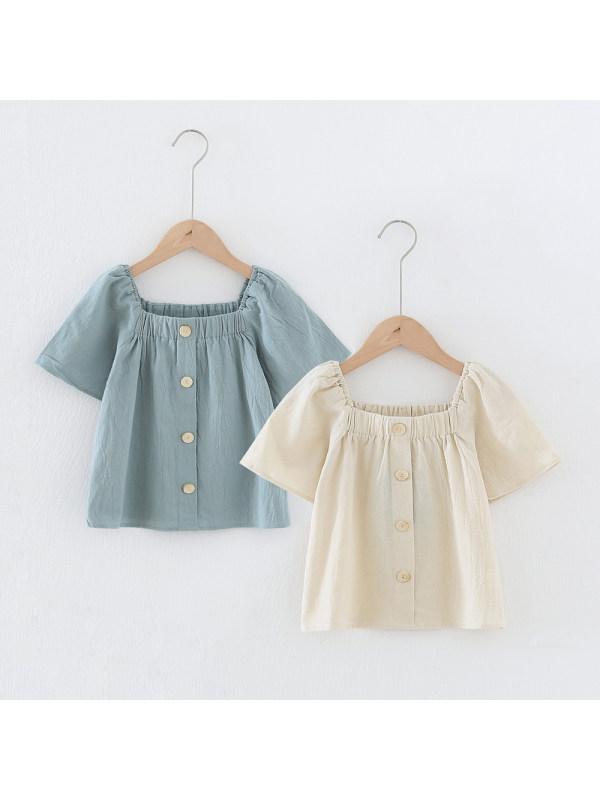 【4Y-15Y】Girls' Square Neck Short Sleeve Top