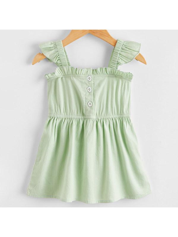 【6M-2.5Y】Baby Girl Sweet Green Sleeveless Dress