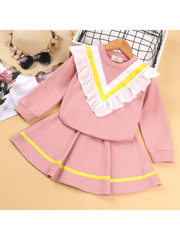 【18M-7Y】Girls Cute Lace Long-sleeved Top With Skirt Suit