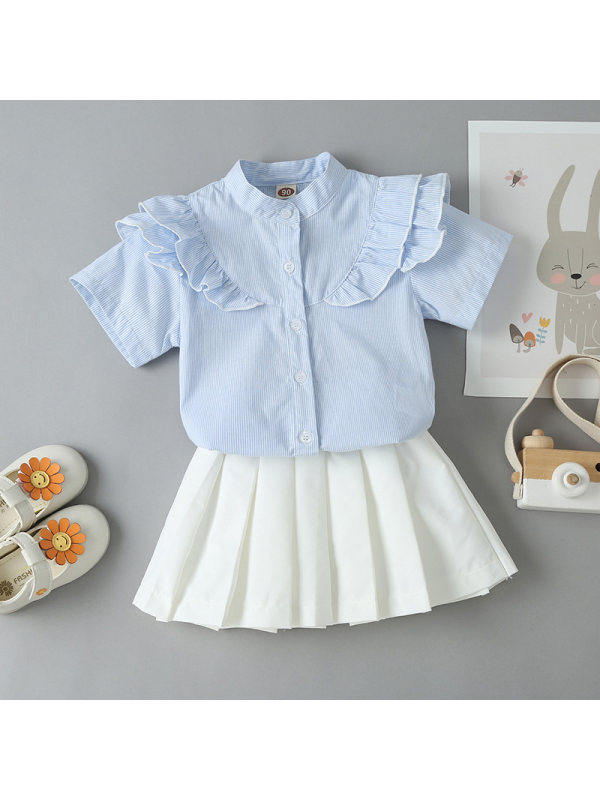 【18M-7Y】Girls Short Sleeve Shirt with Pleated Skirt Suit