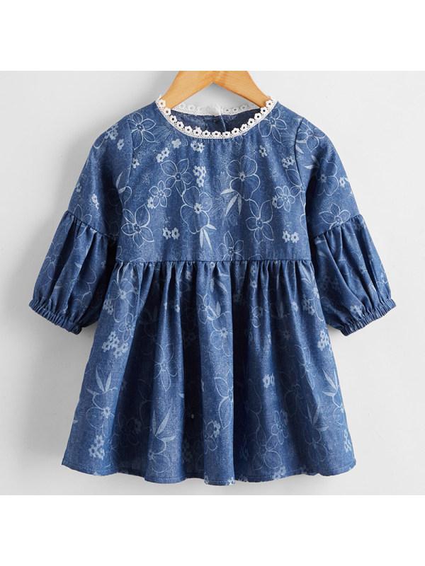 【6M-2.5Y】Baby Girl Sweet Denim Floral Dress