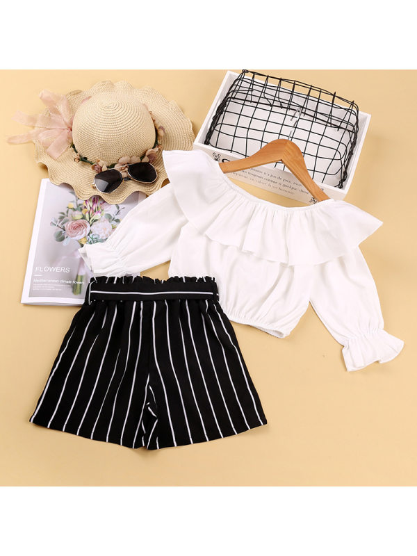 【3Y-11Y】Big Girl's Ruffled Collar Long-sleeved Top And Striped Shorts Two-piece Suit