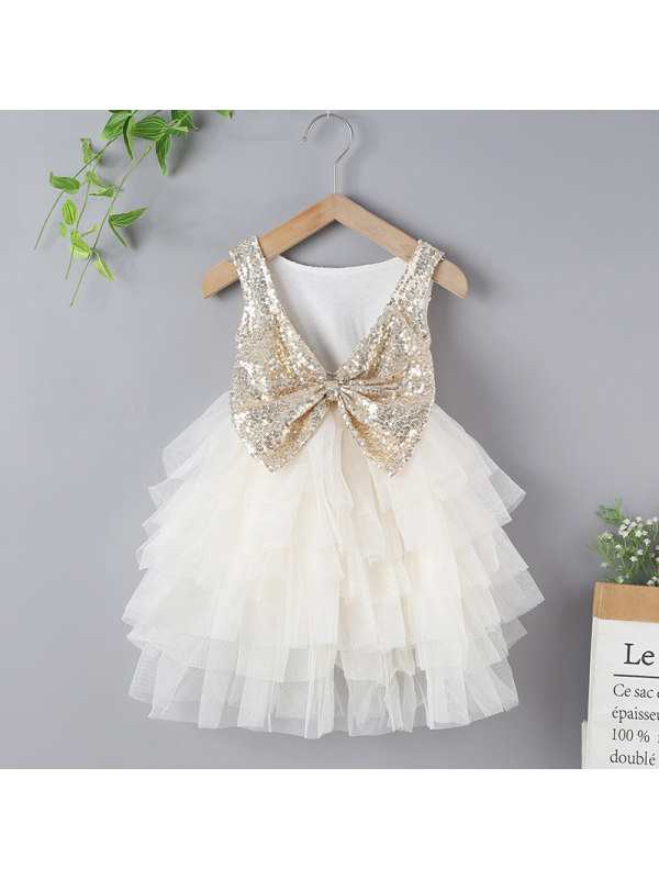 【18M-7Y】Girls Bow Sequin Sleeveless Tulle Dress
