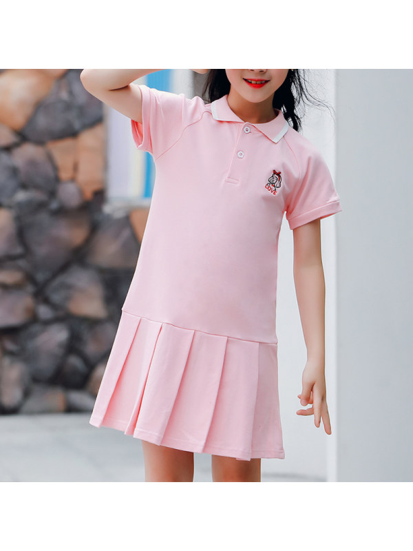 【3Y-13Y】Girls Lapel Short Sleeve POLO Dress