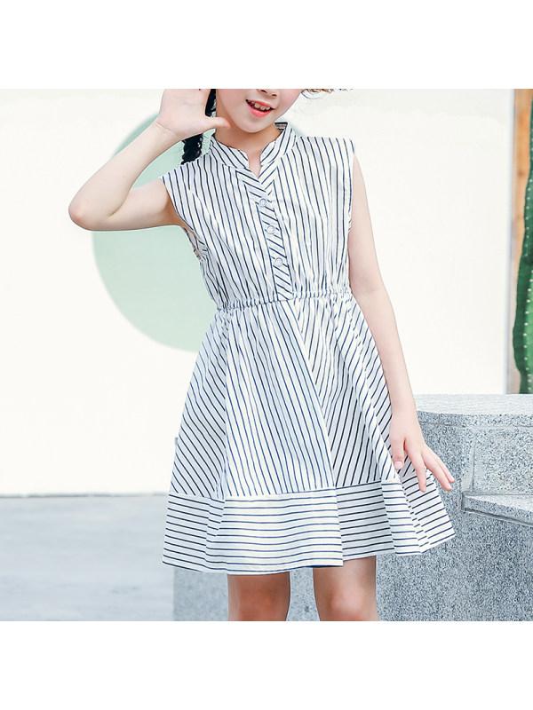 【3Y-13Y】Girls Sleeveless Striped Shirt Cotton Dress