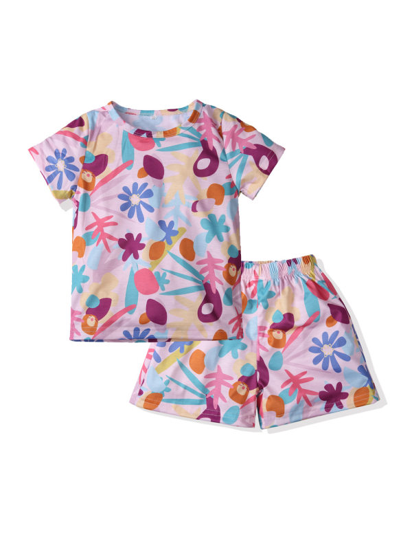 【18M-7Y】Girls Printed Short-sleeved Shorts Loose Two-piece Suit