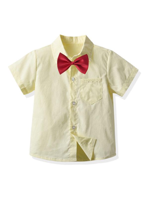 【2Y-9Y】Boys Casual Short Sleeve Bow Tie Button Cardigan Shirt