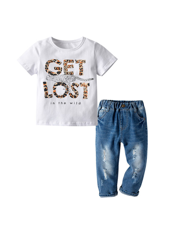 【18M-7Y】 Boy Short-sleeved T-shirt Suit Cotton Pull Frame Cartoon Printed Short-sleeved Ripped Jeans Two-piece
