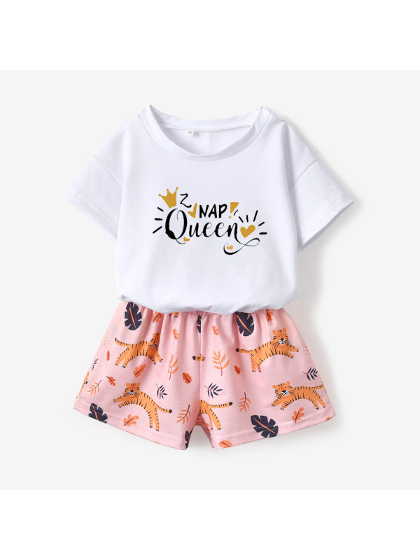 【18M-7Y】Girls White Short-sleeved T-shirt Printed Shorts Suit