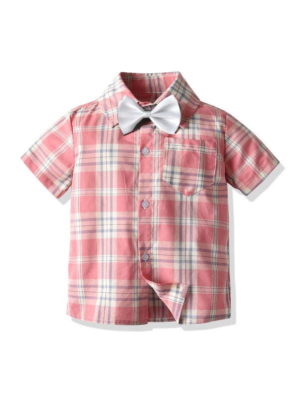 【18M-9Y】Boys' Plaid Cotton Short Sleeves Shirts