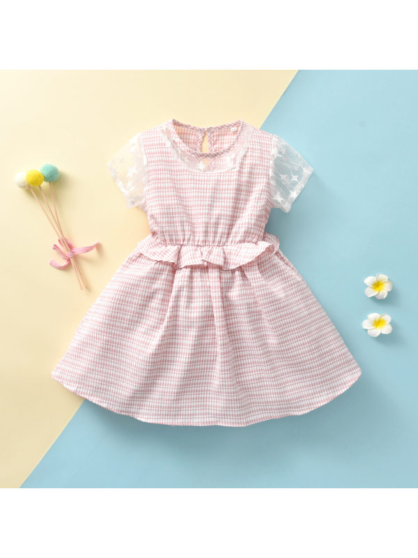 【18M-7Y】Girls Sweet Round Neck Stitching Puffy Short-sleeved Dress