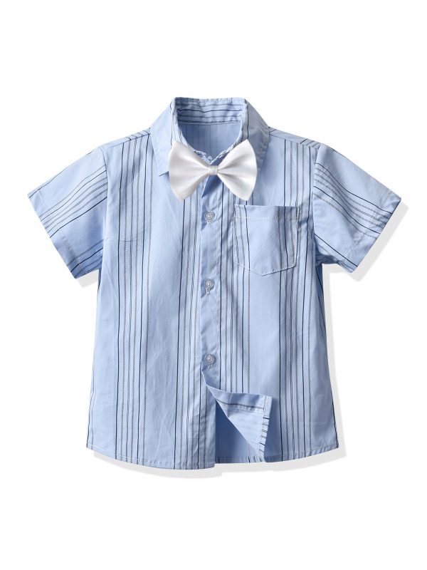 【12M-7Y】Boys Short-sleeved Lapel Striped Bow Tie Button Shirt