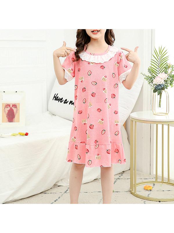 【2Y-13Y】Girls Summer Round Neck Lace Cartoon Dress