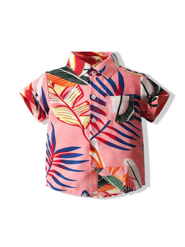 【18M-7Y】Boys' Short-sleeved Leaf Printed Shirt