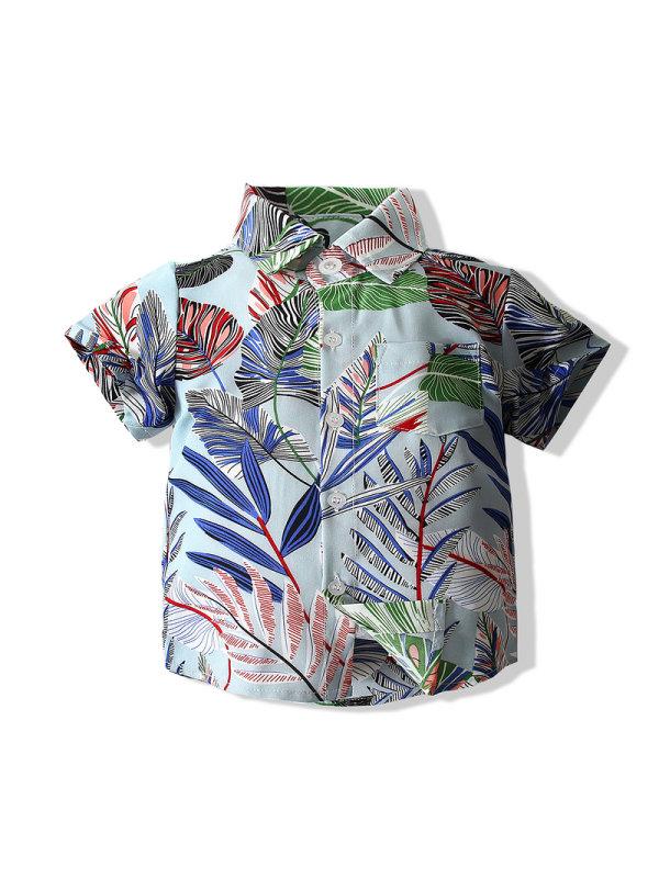 【18M-7Y】Summer Boy Short-sleeved Leaf Shirt