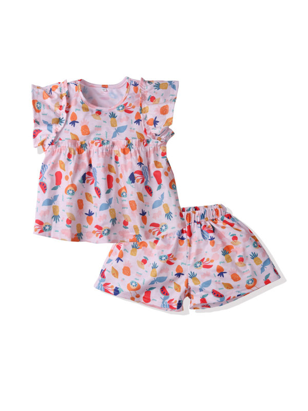 【18M-7Y】Girls Flower Printed Short-sleeved Shorts Thin Two-piece Suit