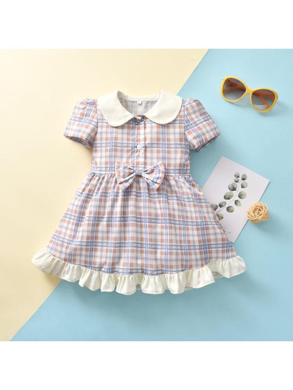 【18M-7Y】Girls Sweet Round Neck Short-sleeved Plaid Dress