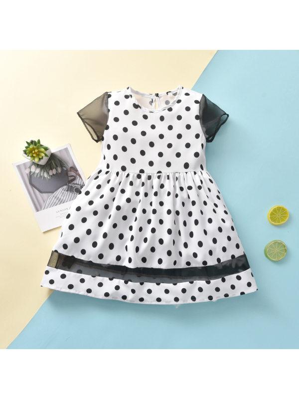 【18M-7Y】Girls Simple Polka Dot Round Neck Stitching Short Sleeve Dress