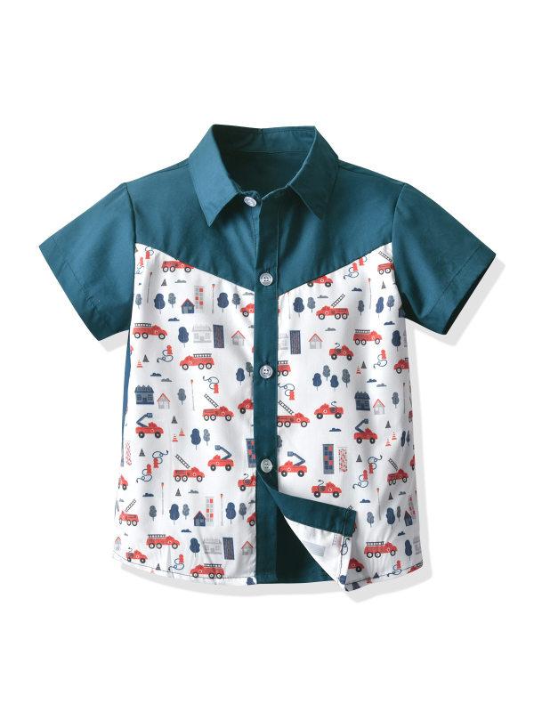 【12M-7Y】Boys Lapel Printed Cartoon Car Short Sleeve Shirt