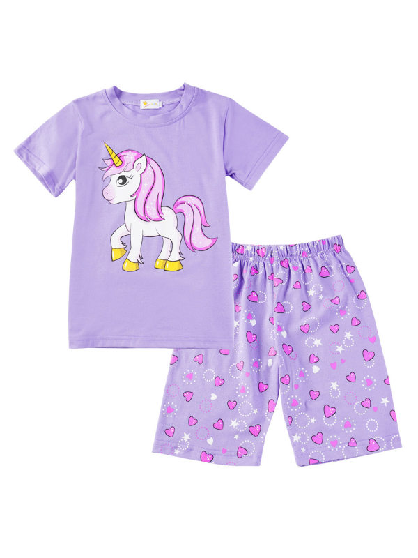 【18M-9Y】Girls Unicorn Print Girls Short Sleeve T-shirt Shorts Two-piece Suit