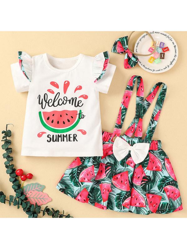 【12M-5Y】Girl Sweet Fruit Pattern T-shirt Strap Skirt Set