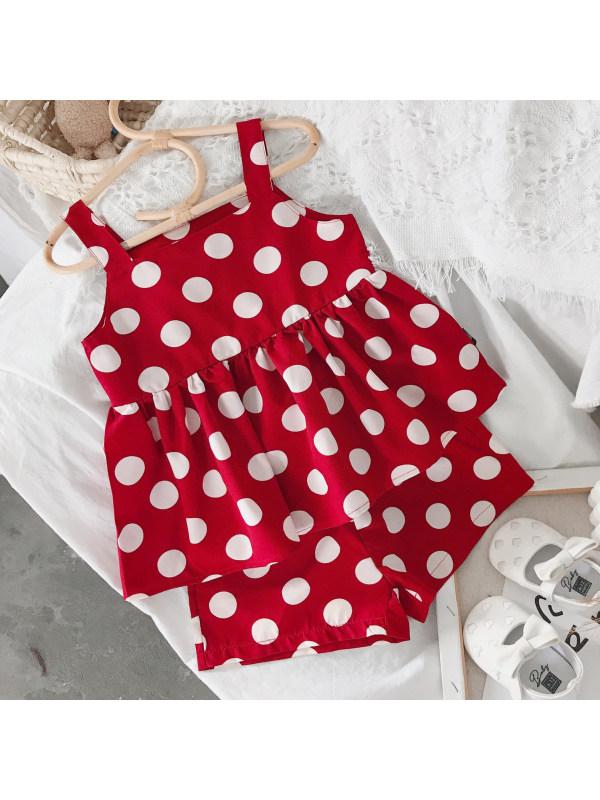 【18M-7Y】Sweet Polka Dot Printed Red Set