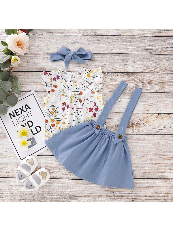 【12M-5Y】Girls Floral Sleeveless Top Strap Skirt Set with Headband